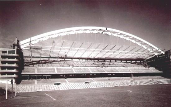 Construcción del arco de San Mamés, 1953. Fuente: Carlos Fernández Casado. Ingeniero. CEDEX – Ministerio de fomento