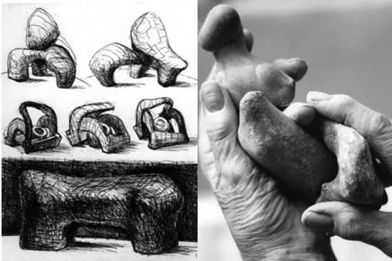 Esbozos y manos trabajando de Henry Moore. Fuente