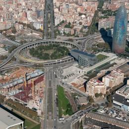Vista aérea actual de la Plaza de las Glòries Catalanes. Fuente: Ayuntamiento de Barcelona
