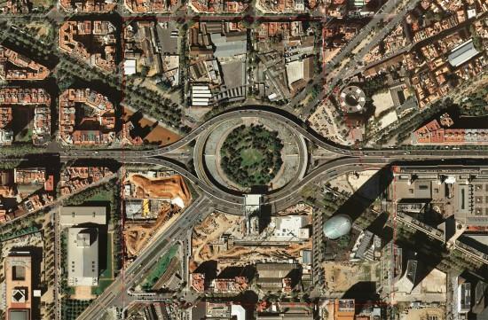 Ortofoto actual de la Plaza de las Glòries Catalanes. Fuente: Ayuntamiento de Barcelona