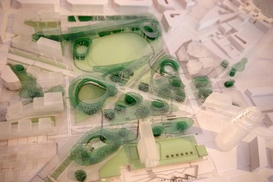 Maqueta de la propuesta ganadora del concurso de la Plaza de las Glòries Catalanes