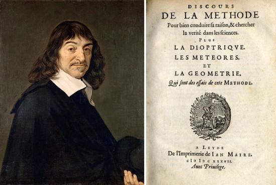Retrato de René Descartes basado en el de Frans Hals de 1649 y portada de la primera edición del Discurso del Método, publicado por Ian Maire en 1637. Fuentes (de izquierda a derecha): Wikimedia (http://commons.wikimedia.org/wiki/File:Frans_Hals_-_Portret_van_Ren%C3%A9_Descartes.jpg); Wikimedia (http://commons.wikimedia.org/wiki/File:Descartes_Discours_de_la_Methode.jpg)
