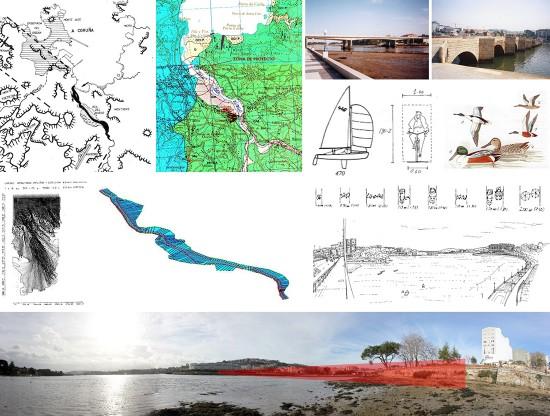 Imágenes que hacen referencia a algunos de los subproblemas en los que se puede dividir un problema de cruce (en este caso de cruce para peatones y ciclistas sobre una ría).