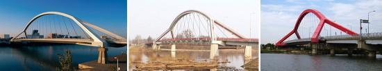 El incorrecto uso de los datos recopilados. El Puente de la Barqueta y sus copias polaca y taiwanesa. Fuentes (de izquierda a derecha): Spanien info (http://www.spanien-newsletter.de/index.php?id=36); Panoramio (http://www.panoramio.com/photo/8527593); Panoramio (http://www.panoramio.com/photo/8228753).