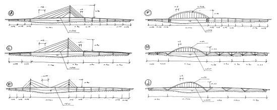 Estudio de alternativas de distintas soluciones para un cruce peatonal y ciclista (croquis de Héctor Beade)