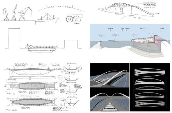 Algunos esquemas y modelos tridimensionales preliminares asociados a la fase creativa del diseño de algunos puentes y pasarelas peatonales (diseños y croquis de Héctor Beade en Arenas & Asociados).