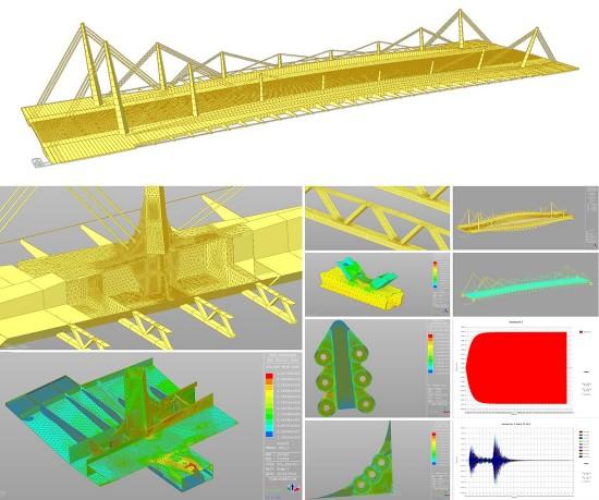 Imágenes de la fase de la verificación estructural de puente de un puente urbano singular (diseño de Héctor Beade en Arenas & Asociados | las imágenes recogen parte del trabajo realizado por Pablo Alfonso y Marianela García).