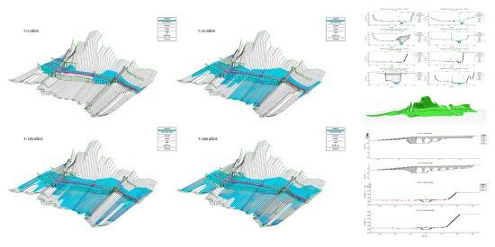 Imágenes de la fase de la verificación hidráulica de una pasarela peatonal sobre el cauce de un río (trabajo de Héctor Beade en Arenas & Asociados).