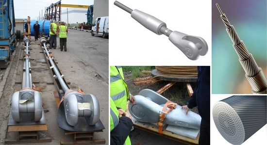 El sistema de atirantamiento empleado en un puente sustentado por cables puede condicionar de manera significativa su diseño (fotografías de Héctor Beade y visualizaciones de Bridon (http://www.bridon.com/uk/construction-industry/tied-arch-bridge-ropes/cable-ties/locked-coil-strand/).