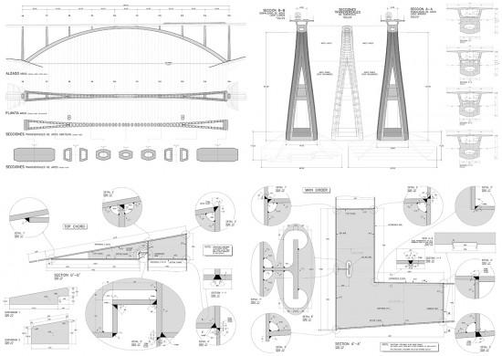Algunos ejemplos de planos constructivos de puentes y pasarelas (trabajo de Héctor Beade en Arenas y Asociados).