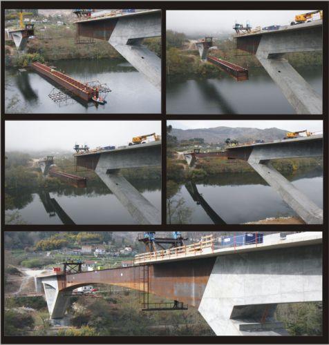 Construcción del Puente de Cortegada sobre el río Miño. Pondio Ingenieros.