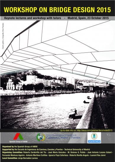 Portada del WoBD2015. Ría de Bilbao y pasarela peatonal Pedro Arrupe en Abandoibarra, diseñada por Ideam. Diseño gráfico por Silvia Paredes.