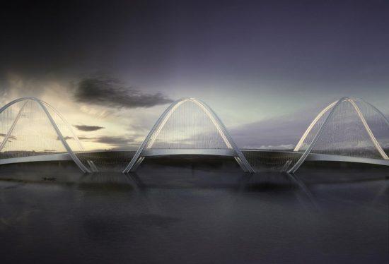 Infografía del alzado del puente San Shan. Fuente